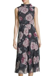 Neiman Marcus High-Neck Floral-Print Dress