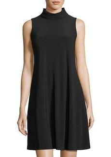 Neiman Marcus High-Neck Jersey A-Line Dress