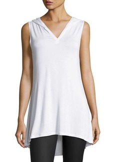 Neiman Marcus Hooded Sleeveless V-Neck Tunic