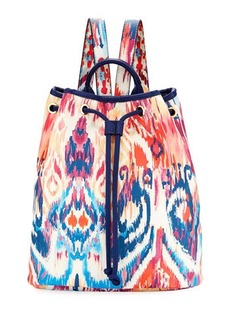 Neiman Marcus Ikat-Print Drawstring Backpack