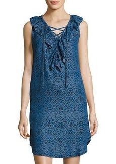 Neiman Marcus Ikat-Print Sleeveless Chambray Dress