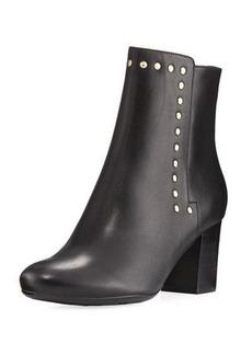 Neiman Marcus Jaimi Leather Studded Ankle Bootie