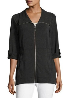 Neiman Marcus Jersey Short-Collar Roll-Sleeve Jacket