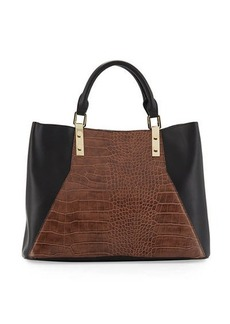 Neiman Marcus Jess Snake-Panel Faux-Leather Satchel Bag