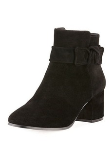 Neiman Marcus Joanie Suede Knotted Bootie