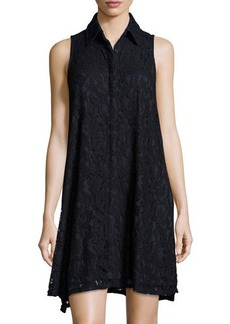 Neiman Marcus Josephine Sleeveless Lace Trapeze Dress