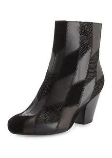 Neiman Marcus Juicy Patchwork Leather & Suede Bootie