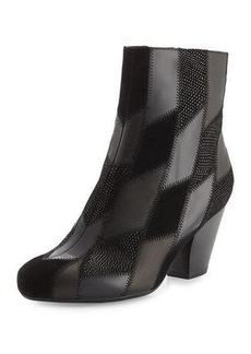 Neiman Marcus Juicy Patchwork Leather & Suede Bootie