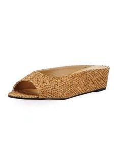 Neiman Marcus Kade Embossed Cork Slide Flat Sandal
