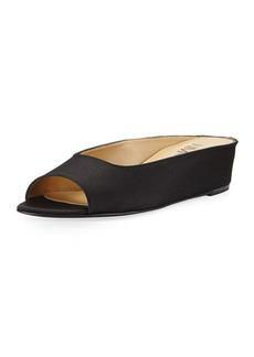Neiman Marcus Kade Grosgrain Slide Flat Sandal