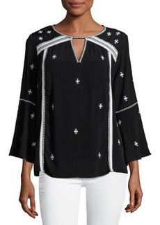 Neiman Marcus Keyhole Embroidered Top