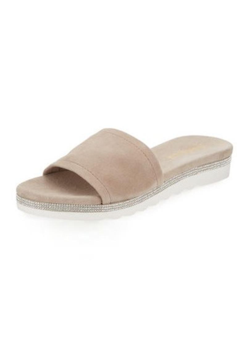d4bce0a49c6ef Neiman Marcus Neiman Marcus Knight Suede Metallic Slide Sandal ...