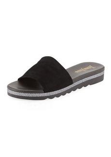 Neiman Marcus Knight Suede Metallic Slide Sandal