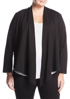 Neiman Marcus Knit Cascade-Front Cardigan