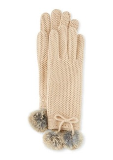 Neiman Marcus Knit Gloves with Rabbit Fur Pompom