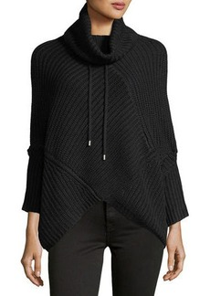 Neiman Marcus Knit Long-Sleeve Poncho