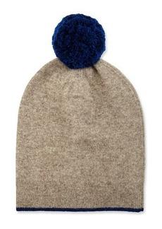 Neiman Marcus Knit Wool-Blend Pompom Hat