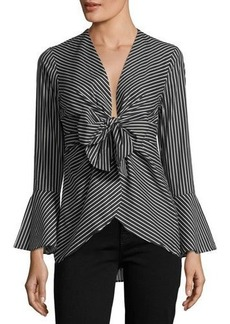 Neiman Marcus Knotted Bell-Sleeve Top
