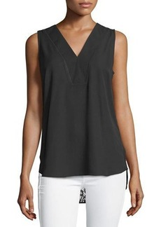 Neiman Marcus Lace-Back High-Low Blouse