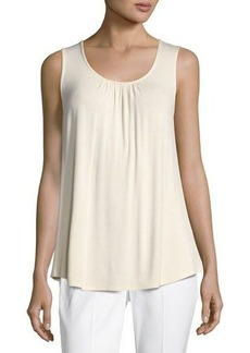 Neiman Marcus Lace-Back Jersey Tank Top