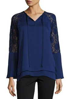 Neiman Marcus Lace Bell-Sleeve Top
