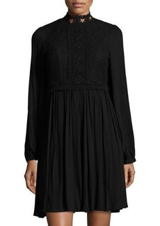 Neiman Marcus Lace-Bodice Mock-Neck Dress