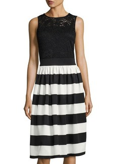 Neiman Marcus Lace-Bodice Striped Fit-and-Flare Dress