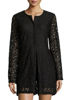 Neiman Marcus Lace Button-Up Romper