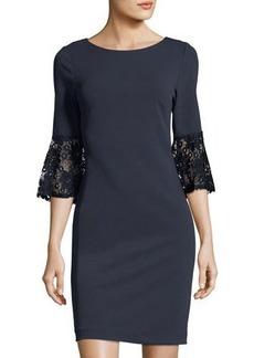 Neiman Marcus Lace-Cuff Sheath Dress