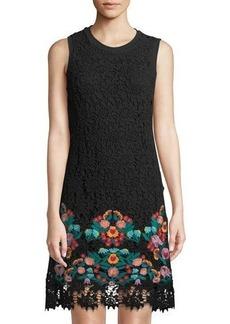Neiman Marcus Lace Floral-Hem Dress