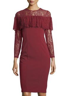 Neiman Marcus LS LACE FLOUNCE SHTH DRESS