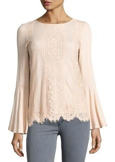 Neiman Marcus Lace-Front Bell-Sleeve Top