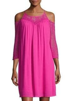 Neiman Marcus Lace-Inset Cold-Shoulder Dress