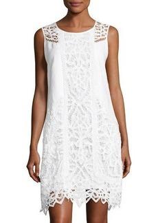Neiman Marcus Lace-Inset Linen Dress