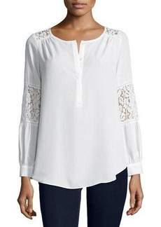 Neiman Marcus Lace-Inset Peasant Tunic