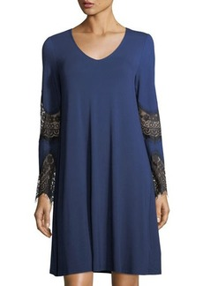 Neiman Marcus Lace-Inset V-Neck Swing Dress