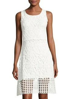 Neiman Marcus Lace-Overlay Flare Dress