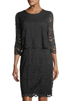 Neiman Marcus Lace-Overlay Popover Dress