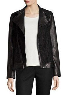 Neiman Marcus Lace-Panel Leather Moto Jacket
