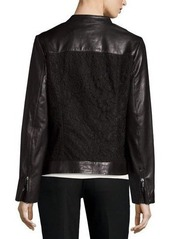 Neiman Marcus Lace-Panel Leather Moto Jacket