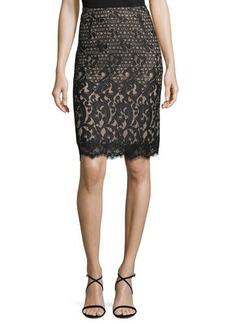 Neiman Marcus Lace Pencil Skirt