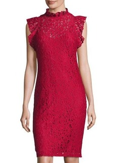 Neiman Marcus Lace Ruffled Sheath Dress