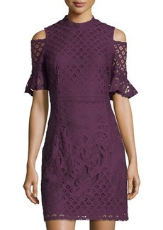 Neiman Marcus Lace Sheath Cold-Shoulder Dress