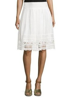 Neiman Marcus Lace-Trim A-Line Skirt
