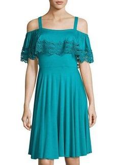 Neiman Marcus Lace-Trim Cold-Shoulder Flounce Dress