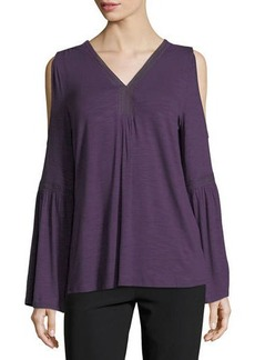 Neiman Marcus Lace-Trim Cold-Shoulder Tee