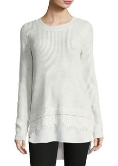 Neiman Marcus Lace-Trim Crewneck Sweater