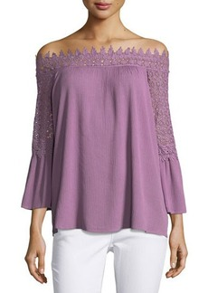 Neiman Marcus Lace-Trim Off-the-Shoulder Blouse