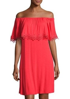 Neiman Marcus Lace-Trim Off-the-Shoulder Dress