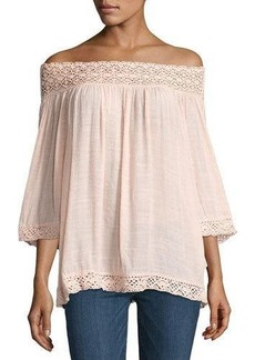 Neiman Marcus Lace-Trim Peasant Blouse